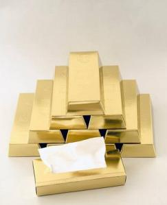 Gold Bar Tissue Box